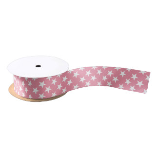 Christmas stars pink and white satin ribbon