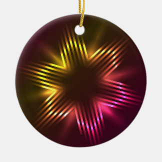 Christmas stars shaped with light round ceramic decoration