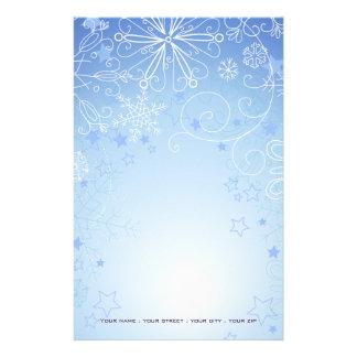 Christmas Stationary Blue & White Personalized Stationery