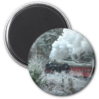 Christmas steam locomotive magnet