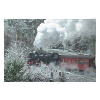 Christmas steam locomotive placemat