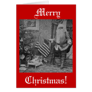 Christmas Stereoview Santa & American Flag Card