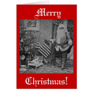 Christmas Stereoview Santa & American Flag Greeting Card