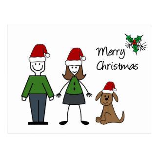 Christmas Stick Figures Postcard
