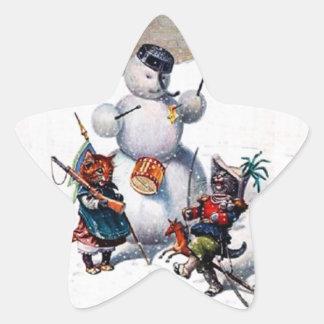 Christmas Sticker, Star Shape Cats & Snowman Star Sticker
