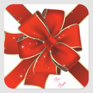 Christmas Stickers/Red and Gold Bow Square Sticker