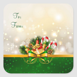Christmas Stickers/Ribbons and Pine cones Square Sticker