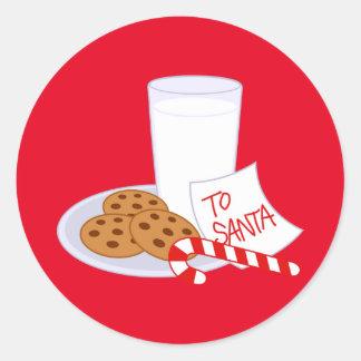 Christmas Stickers/Santa's Milk and Cookies Round Sticker