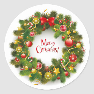 Christmas Stickers/Wreath Classic Round Sticker
