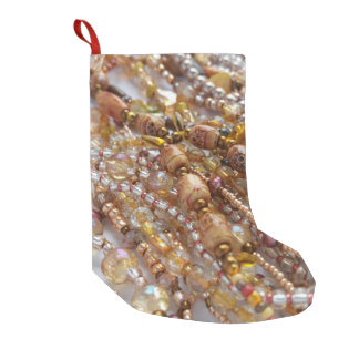 Christmas Stocking- Bead Print & Red Small Christmas Stocking