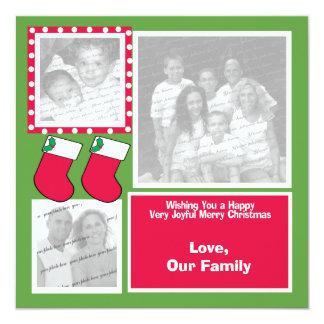 Christmas Stocking Family Photo Greeting Flat Card