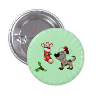 Christmas Stocking with Candy Canes and Mistletoe Button