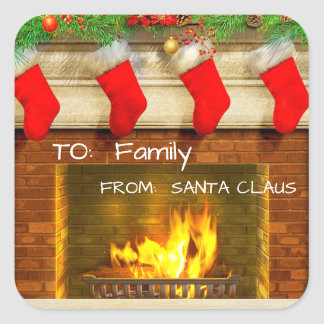 Christmas Stockings and Fireplace Gift Tags