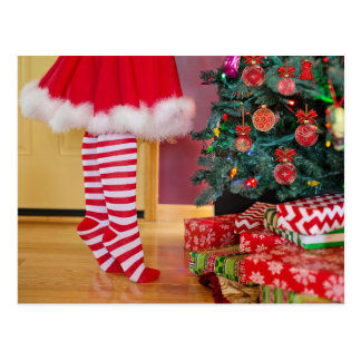 Christmas Stockings gifts under tree postcard
