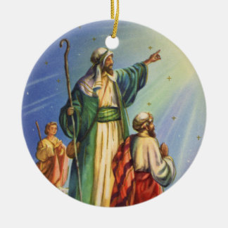 Christmas Story Shepherds and the Star Ceramic Ornament