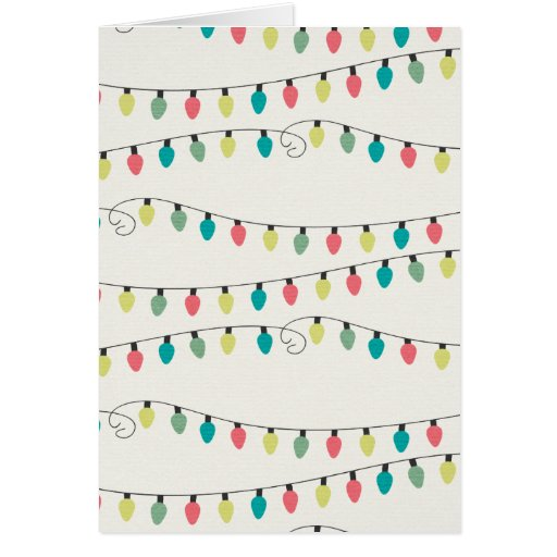 Christmas String of Lights Pattern Greeting Cards