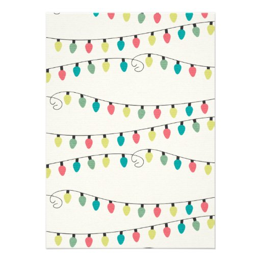 Christmas String of Lights Pattern Personalized Invite
