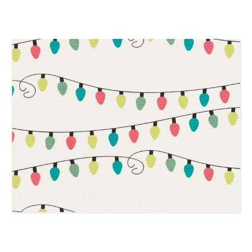 Christmas String of Lights Pattern Postcard