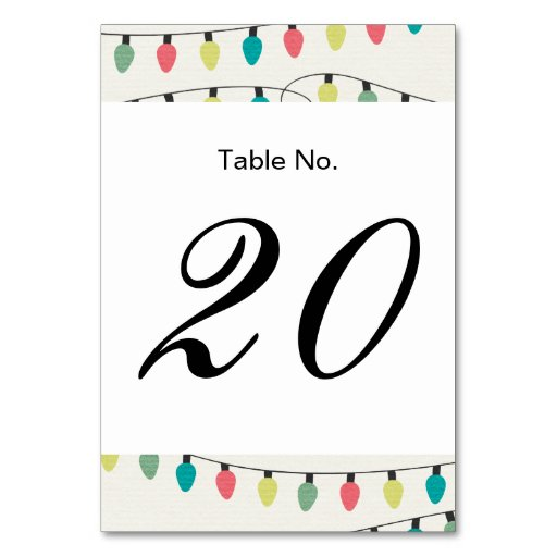 Christmas String of Lights Pattern Table Card