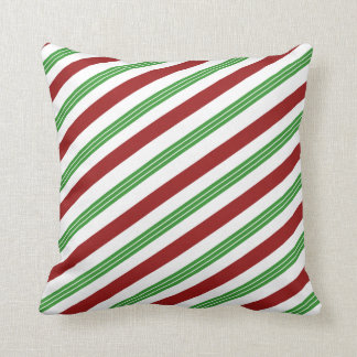 Christmas Striped Mint Candy Cane Holiday Decor Cushion