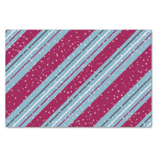 Christmas Stripes Blue and Raspberry Red ID440 Tissue Paper