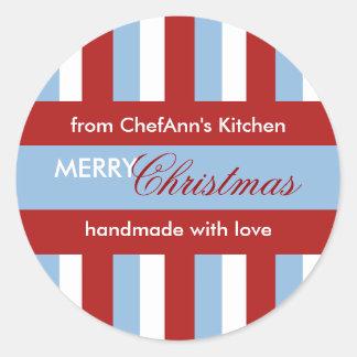 Christmas Stripes blue Kitchen Jar Label Round Sticker