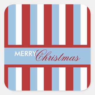 Christmas Stripes blue Square Sticker