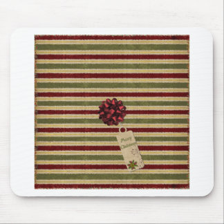Christmas stripes bow and tag mouse pad