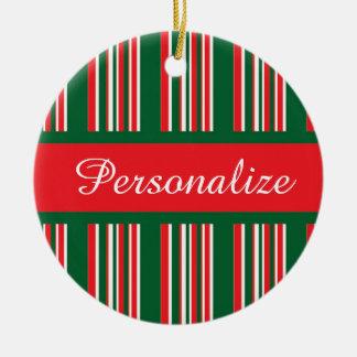 Christmas Stripes Ceramic Ornament