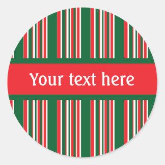 Christmas Stripes Classic Round Sticker