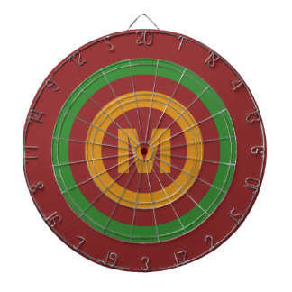 Christmas Stripes custom monogram dart board