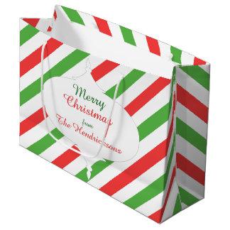 Christmas Stripes d large gift bag red/green/white