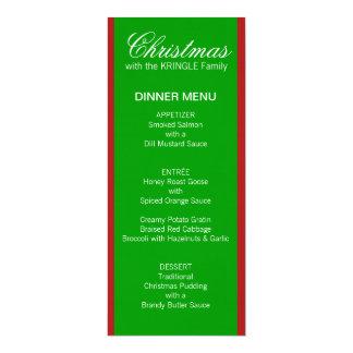 Christmas Stripes green Dinner Menu 10 Cm X 24 Cm Invitation Card
