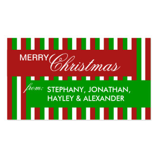 Christmas Stripes green Gift Tag Business Card Template