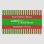 Christmas Stripes green Kitchen Label Rectangle