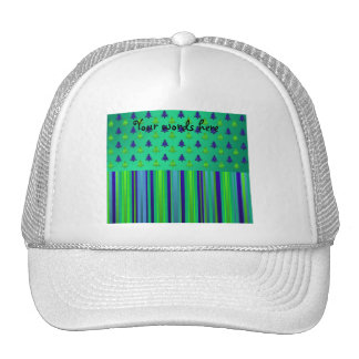 Christmas stripes in green with Christmas trees19 Trucker Hat