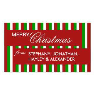 Christmas Stripes red Gift Tag Pack Of Standard Business Cards