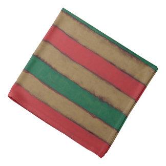 Christmas Stripes Red, Green and Brown Bandana
