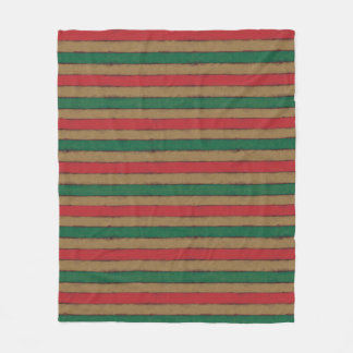 Christmas Stripes Red, Green and Brown Fleece Blanket