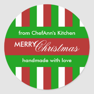 Christmas Stripes red Kitchen Jar Label Round Sticker