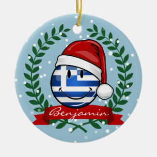 Christmas Style Greek Flag Ceramic Ornament