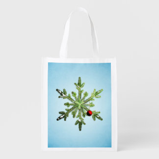 Christmas Stylish Snowy Pine Snowflake Reusable Grocery Bag
