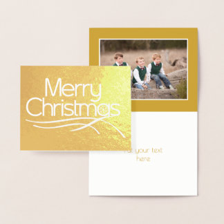 Christmas stylized script and snowflake photo gold foil card