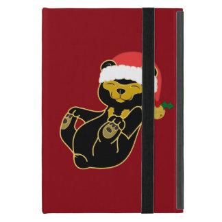 Christmas Sun Bear with Santa Hat & Jingle Bell Cases For iPad Mini