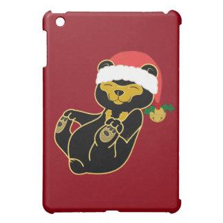 Christmas Sun Bear with Santa Hat & Jingle Bell iPad Mini Cases