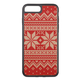 Christmas Sweater Knitting Pattern - RED Carved iPhone 7 Plus Case