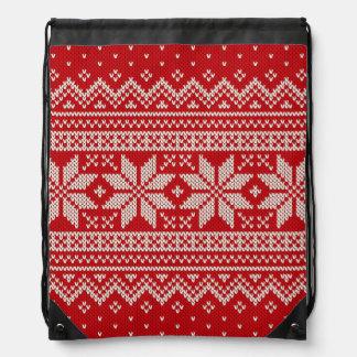 Christmas Sweater Knitting Pattern - RED Drawstring Bag