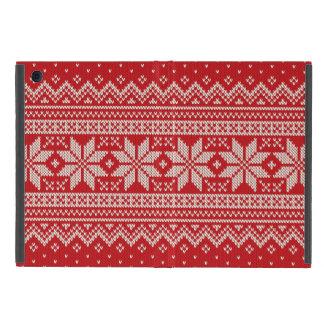 Christmas Sweater Knitting Pattern - RED iPad Mini Covers