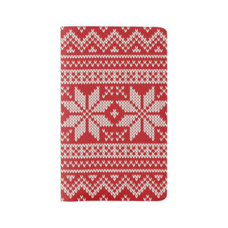 Christmas Sweater Knitting Pattern - RED Large Moleskine Notebook
