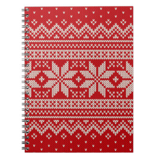 Christmas Sweater Knitting Pattern - RED Spiral Notebook